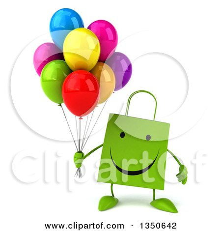 Clipart of a 3d Happy Green Shopping or Gift Bag Character Holding Party Balloons - Royalty Free Illustration by Julos