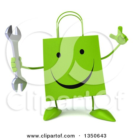 Clipart of a 3d Happy Green Shopping or Gift Bag Character Holding up a Finger and a Wrench - Royalty Free Illustration by Julos