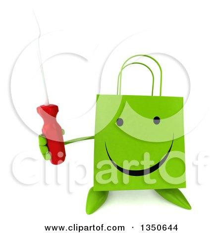 Clipart of a 3d Happy Green Shopping or Gift Bag Character Holding up a Screwdriver - Royalty Free Illustration by Julos