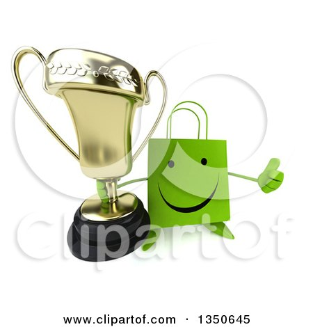 Clipart of a 3d Happy Green Shopping or Gift Bag Character Holding up a Trophy and a Thumb - Royalty Free Illustration by Julos