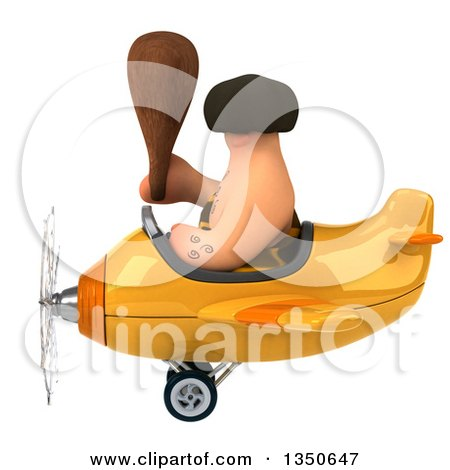 Clipart of a 3d Caveman Aviator Pilot Holding a Club and Flying a Yellow Airplane to the Left - Royalty Free Illustration by Julos