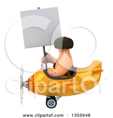 Clipart of a 3d Caveman Aviator Pilot Holding a Blank Sign and Flying a Yellow Airplane to the Left - Royalty Free Illustration by Julos