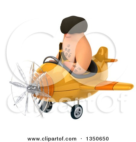 Clipart of a 3d Caveman Aviator Pilot Flying a Yellow Airplane to the Left - Royalty Free Illustration by Julos