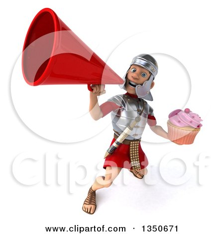 Clipart of a 3d Young Male Roman Legionary Soldier Holding a Cupcake and Announcing Upwards with a Megaphone - Royalty Free Illustration by Julos