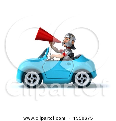 Clipart of a 3d Young Male Roman Legionary Soldier Using a Megaphone and Driving a Blue Convertible Car to the Left - Royalty Free Illustration by Julos