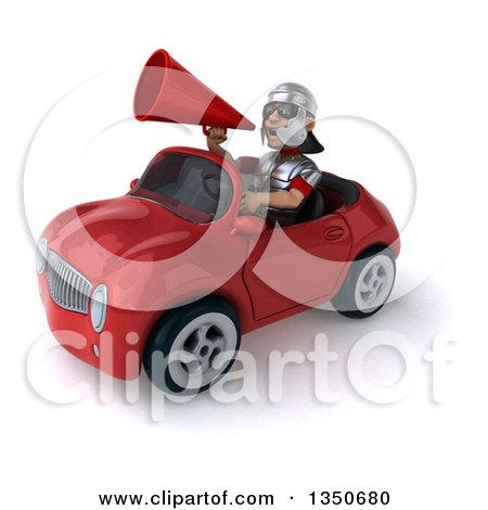 Clipart of a 3d Young Male Roman Legionary Soldier Wearing Sunglasses, Using a Megaphone and Driving a Red Convertible Car to the Left - Royalty Free Illustration by Julos
