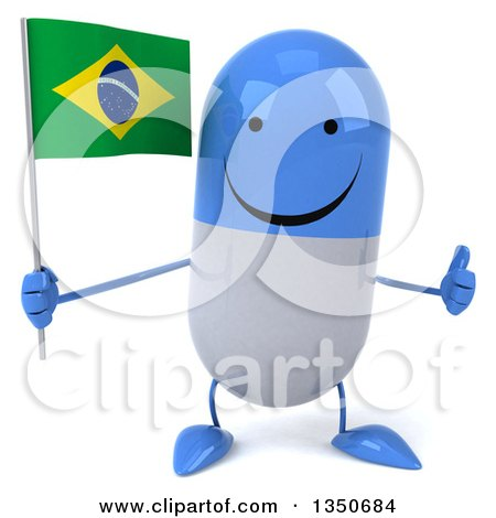 Clipart of a 3d Happy Blue and White Pill Character Holding a Brazilian Flag and Giving a Thumb up - Royalty Free Illustration by Julos