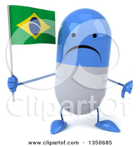 Clipart of a 3d Unhappy Blue and White Pill Character Holding a Brazilian Flag and Giving a Thumb down - Royalty Free Illustration by Julos