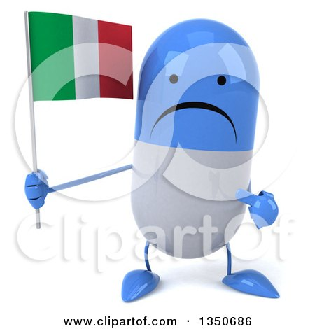 Clipart of a 3d Unhappy Blue and White Pill Character Holding and Pointing to an Italian Flag - Royalty Free Illustration by Julos