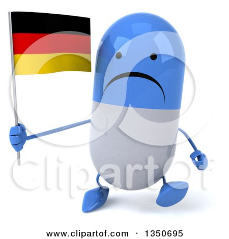 Clipart of a 3d Unhappy Blue and White Pill Character Holding a German Flag and Walking - Royalty Free Illustration by Julos