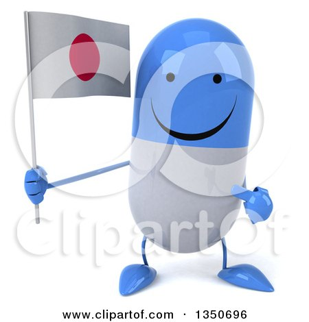 Clipart of a 3d Happy Blue and White Pill Character Holding and Pointing to a Japanese Flag - Royalty Free Illustration by Julos