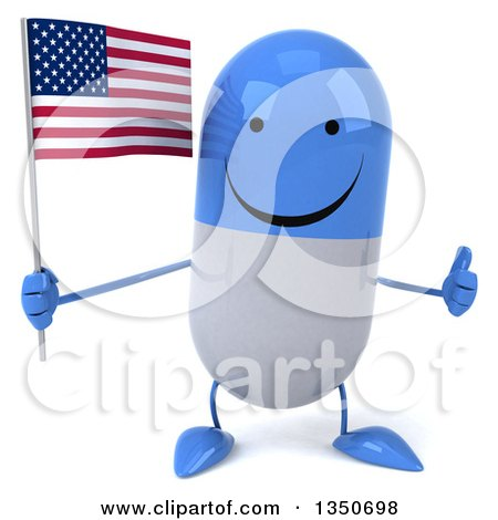 Clipart of a 3d Happy Blue and White Pill Character Holding an American Flag and Giving a Thumb up - Royalty Free Illustration by Julos