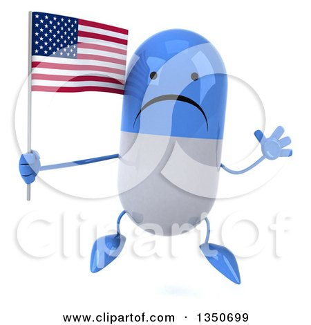 Clipart of a 3d Unhappy Blue and White Pill Character Holding an American Flag and Jumping - Royalty Free Illustration by Julos
