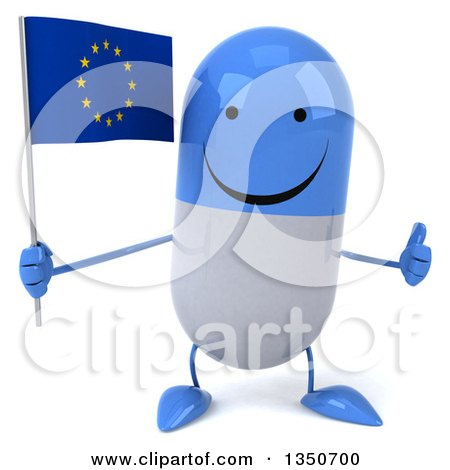 Clipart of a 3d Happy Blue and White Pill Character Holding a European Flag and Giving a Thumb up - Royalty Free Illustration by Julos