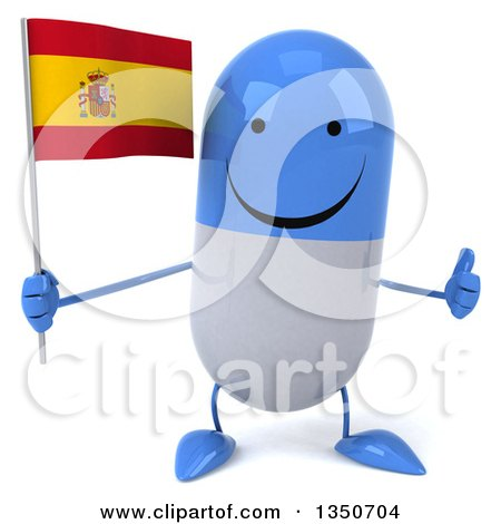 Clipart of a 3d Happy Blue and White Pill Character Holding a Spanish Flag and Giving a Thumb up - Royalty Free Illustration by Julos