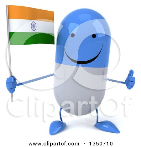 Clipart of a 3d Happy Blue and White Pill Character Holding an Indian Flag and Giving a Thumb up - Royalty Free Illustration by Julos