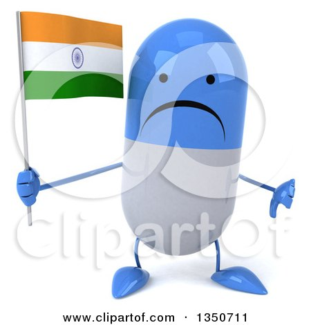 Clipart of a 3d Unhappy Blue and White Pill Character Holding an Indian Flag and Giving a Thumb down - Royalty Free Illustration by Julos