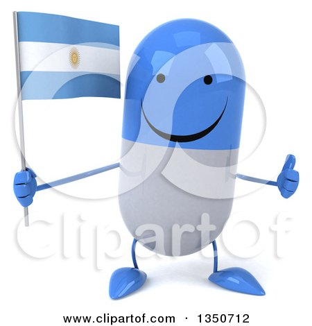 Clipart of a 3d Happy Blue and White Pill Character Holding an Argentine Flag and Giving a Thumb up - Royalty Free Illustration by Julos