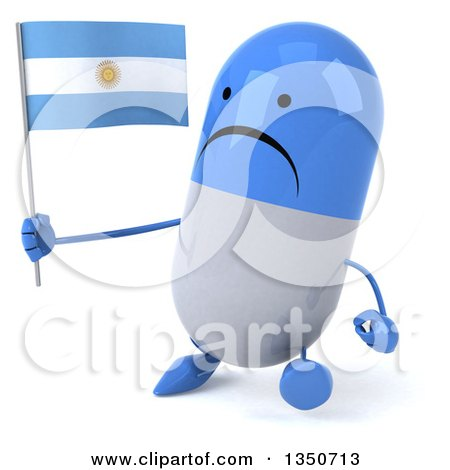 Clipart of a 3d Unhappy Blue and White Pill Character Holding an Argentine Flag and Walking - Royalty Free Illustration by Julos
