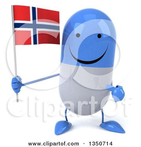 Clipart of a 3d Happy Blue and White Pill Character Holding and Pointing to a Norwegian Flag - Royalty Free Illustration by Julos