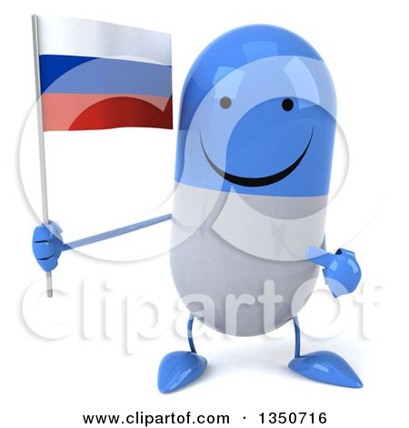Clipart of a 3d Happy Blue and White Pill Character Holding and Pointing to a Russian Flag - Royalty Free Illustration by Julos