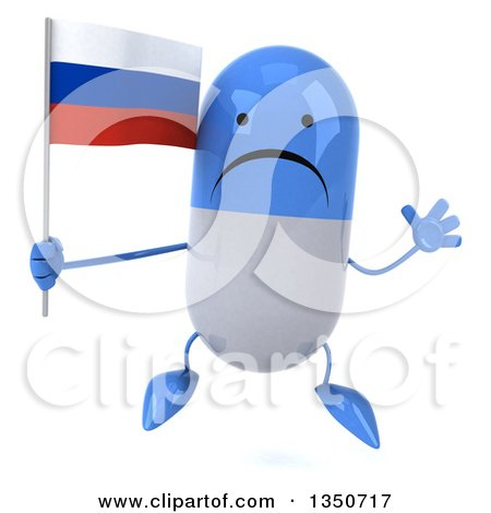 Clipart of a 3d Unhappy Blue and White Pill Character Holding a Russian Flag and Jumping - Royalty Free Illustration by Julos