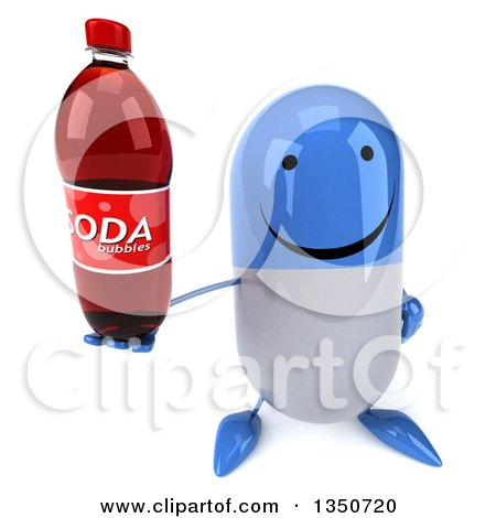Clipart of a 3d Happy Blue and White Pill Character Holding up a Soda Bottle - Royalty Free Illustration by Julos
