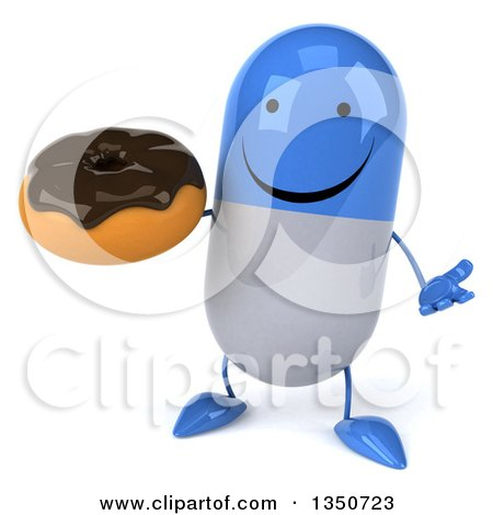 Clipart of a 3d Happy Blue and White Pill Character Holding a Chocolate Glazed Donut and Shrugging - Royalty Free Illustration by Julos