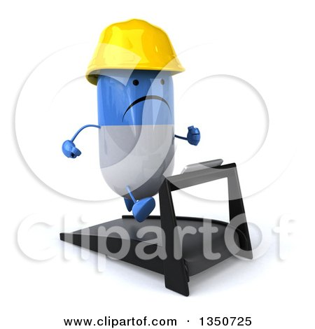 Clipart of a 3d Unhappy Blue and White Pill Contractor Character Facing Right and Running on a Treadmill - Royalty Free Illustration by Julos