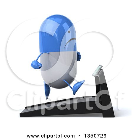 Clipart of a 3d Unhappy Blue and White Pill Character Running on a Treadmill - Royalty Free Illustration by Julos