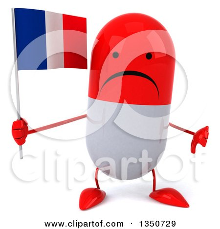 Clipart of a 3d Unhappy Red and White Pill Character Holding a French Flag and Giving a Thumb down - Royalty Free Illustration by Julos