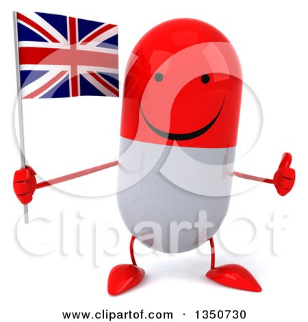 Clipart of a 3d Happy Red and White Pill Character Holding a British Union Jack Flag and Giving a Thumb up - Royalty Free Illustration by Julos