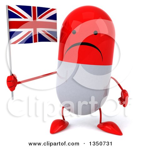 Clipart of a 3d Unhappy Red and White Pill Character Holding a British Union Jack Flag - Royalty Free Illustration by Julos