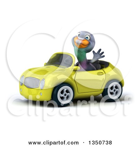 Clipart of a 3d Pigeon Waving and Driving a Light Green Convertible Car to the Left - Royalty Free Illustration by Julos