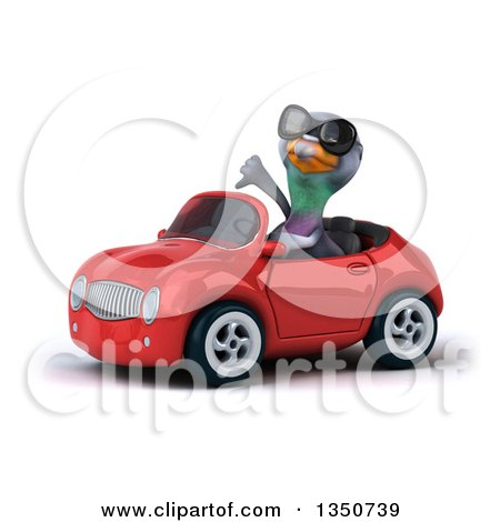 Clipart of a 3d Pigeon Wearing Sunglasses, Giving a Thumb down and Driving a Red Convertible Car to the Left - Royalty Free Illustration by Julos