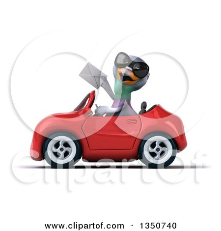 Clipart of a 3d Pigeon Wearing Sunglasses, Holding an Envelope and Driving a Red Convertible Car to the Left - Royalty Free Illustration by Julos