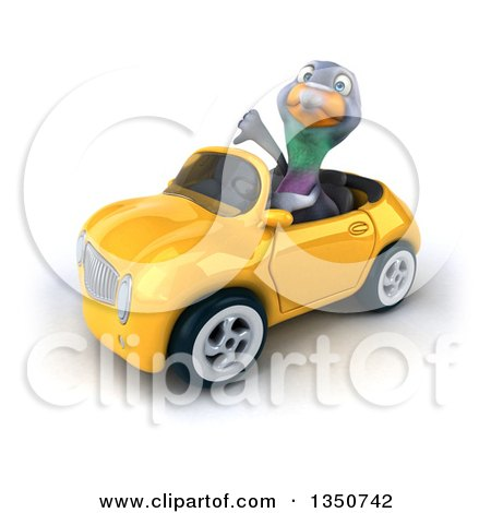 Clipart of a 3d Pigeon Giving a Thumb down and Driving a Yellow Convertible Car to the Left - Royalty Free Illustration by Julos