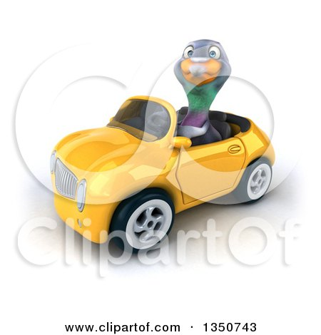 Clipart of a 3d Pigeon Driving a Yellow Convertible Car to the Left - Royalty Free Illustration by Julos