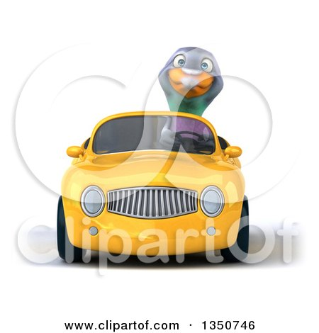 Clipart of a 3d Pigeon Driving a Yellow Convertible Car - Royalty Free Illustration by Julos
