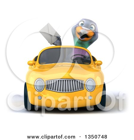 Clipart of a 3d Pigeon Holding an Envelope and Driving a Yellow Convertible Car - Royalty Free Illustration by Julos