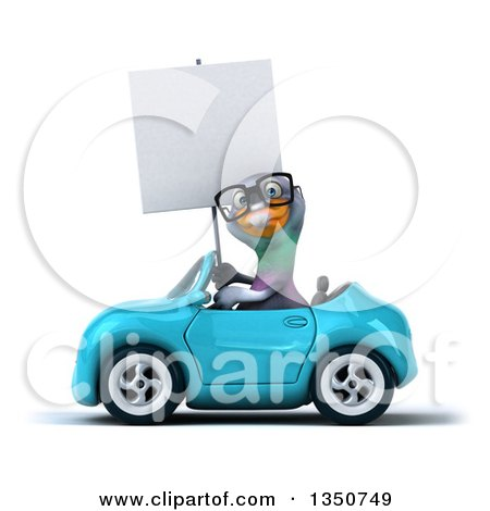 Clipart of a 3d Bespectacled Pigeon Holding a Blank Sign and Driving a Blue Convertible Car to the Left - Royalty Free Illustration by Julos