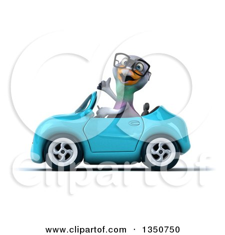 Clipart of a 3d Bespectacled Pigeon Giving a Thumb up and Driving a Blue Convertible Car to the Left - Royalty Free Illustration by Julos