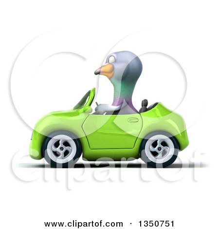 Clipart of a 3d Pigeon Driving a Green Convertible Car to the Left - Royalty Free Illustration by Julos