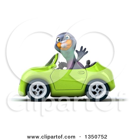 Clipart of a 3d Pigeon Waving and Driving a Green Convertible Car to the Left - Royalty Free Illustration by Julos