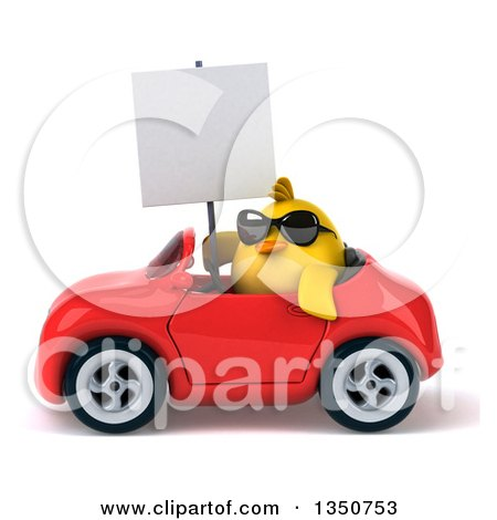 Clipart of a 3d Chubby Yellow Bird Chicken Wearing Sunglasses, Holding a Blank Sign and Driving a Red Convertible Car to the Left - Royalty Free Illustration by Julos