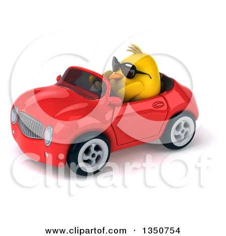 Clipart of a 3d Chubby Yellow Bird Chicken Wearing Sunglasses and Driving a Red Convertible Car to the Left - Royalty Free Illustration by Julos
