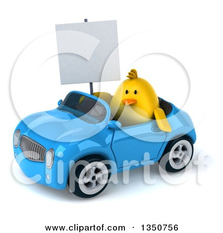Clipart of a 3d Chubby Yellow Bird Chicken Holding a Blank Sign and Driving a Blue Convertible Car to the Left - Royalty Free Illustration by Julos