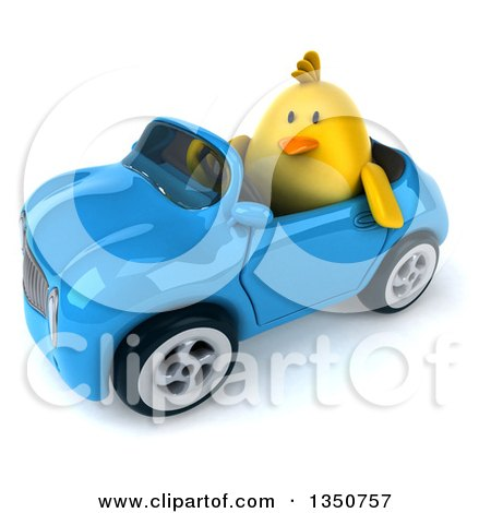 Clipart of a 3d Chubby Yellow Bird Chicken Driving a Blue Convertible Car to the Left - Royalty Free Illustration by Julos