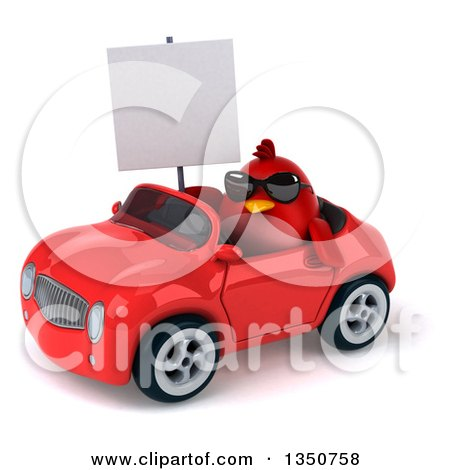 Clipart of a 3d Chubby Red Bird Wearing Sunglasses, Holding a Blank Sign and Driving a Convertible Car to the Left - Royalty Free Illustration by Julos