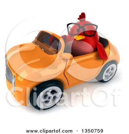 Clipart of a 3d Bespectacled Chubby Red Bird Driving an Orange Convertible Car to the Left - Royalty Free Illustration by Julos